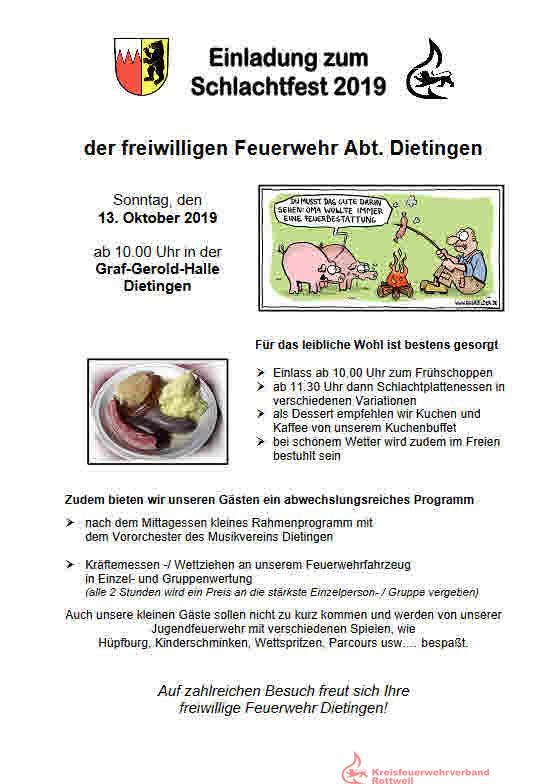 Schlachtfest der freiwilligen Feuerwehr Abt. Dietingen @ Graf-Gerold-Halle Dietingen